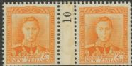 NZ Counter Coil Pair SG 680 1947 2d King George VI Join No. 10 (NCC/154)